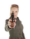 белокурый воин пушки девушки Стоковое фото RF