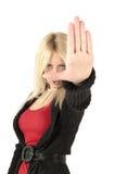 белокурый женский стоп знака Стоковое Фото