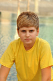 белокурый заход солнца портрета мальчика Стоковое фото RF