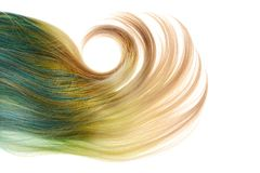 Белокурый и голубой парик umbra при большая изолированная скручиваемость Стоковое Изображение