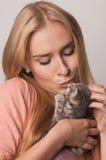белокурый котенок крупного плана Стоковые Изображения