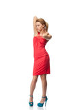 белокурый красный цвет платья Стоковая Фотография RF