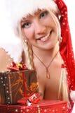 белокурый снежок santa девушки Стоковое Фото
