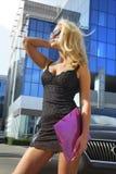 белокурый фиолет скоросшивателя коммерсантки Стоковое Изображение