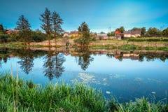 Белорусский или русский дом в деревне или сельской местности Беларуси Стоковые Фото