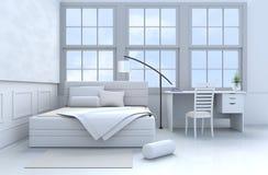 Бело-голубой перевод спальни 3d Стоковая Фотография