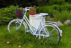Белые велосипед или велосипед как украшение сада Стоковая Фотография