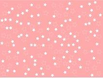 Белые звезды на розовой равнине предпосылки очищают иллюстрацию вектора Стоковая Фотография RF