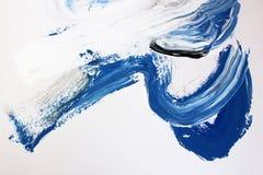 Белые и голубые ходы щетки на холсте Предпосылка абстрактного искусства Текстура цвета Часть художественного произведения абстрак иллюстрация штока
