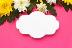 Белые и желтые хризантемы на розовой предпосылке Стоковые Изображения