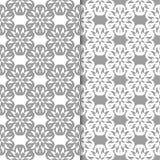 Белые и серые флористические предпосылки делает по образцу безшовный комплект Стоковые Фото