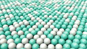 Белые и cyan пластиковые шарики, loopable предпосылка движения иллюстрация штока
