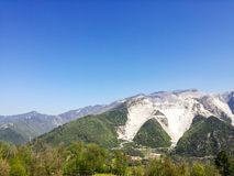 Белые мраморные карьеры, Codena, Каррара, Италия Стоковое Изображение RF