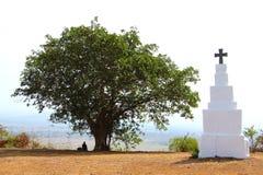 Белые памятник и дерево бога на горном пике стоковое изображение