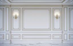 Белые панели стены в классическом стиле с золочением перевод 3d Стоковое Изображение RF