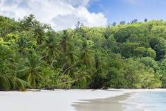 Белые песок пляжа коралла и Индийский океан просини. Стоковое фото RF