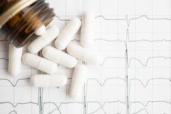 Белые пилюльки в опарнике на бумажном cardiogram Стоковое Изображение RF