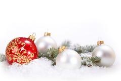 Белые рождества красивые и красные шарики с ветвью и снегом ели на белой предпосылке Стоковое фото RF