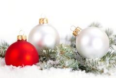 Белые рождества красивые и красные шарики с ветвью и снегом ели на белой предпосылке Стоковые Изображения RF