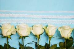 Белые розы расположенные в линии на голубой предпосылке Стоковое фото RF
