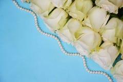Белые розы с жемчугами на голубой предпосылке Стоковое фото RF