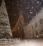 Белые снежинки и большая рождественская елка в Виченца Италии Стоковая Фотография