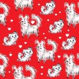 Белые собаки и сердца на красной предпосылке Стоковые Фотографии RF