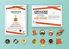 Белые современные сертификаты с красными абстрактными лентами, серой реалистической рамкой и комплектом различных значков абстрак Стоковые Фото