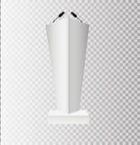 Белые стойки трибуны трибуны подиума с микрофонами на прозрачной предпосылке стоковая фотография