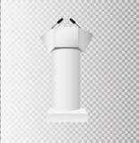 Белые стойки трибуны трибуны подиума с микрофонами на прозрачной предпосылке стоковое изображение rf
