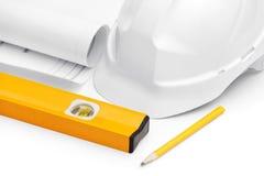 Белые трудный шлем, уровень, druft и карандаш Стоковые Изображения RF