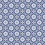 Белые цветки в орнаменте косоугольников безшовном геометрическом Стоковое Изображение RF