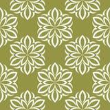 Белые цветки на предпосылке прованского зеленого цвета Орнаментальная безшовная картина иллюстрация штока