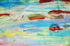 Белые waxy пятна и красное голубое, зеленый, пятна watercor желтого цвета пастельные, творческий дизайн Стоковые Изображения RF
