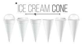 Белый вектор насмешки конуса мороженого вверх установленный Для мороженого, сметана Различный контейнер конуса ведра еды Белый оп иллюстрация штока