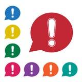 Белый восклицательный знак в красном пузыре речи Знак предупреждения или внимания Значки версий красочного набора дополнительные  бесплатная иллюстрация