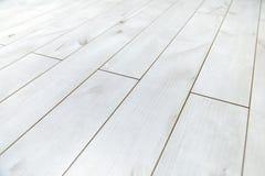 Белый деревянный пол как текстура предпосылки Стоковое Изображение RF