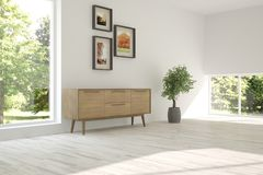 Белый дизайн интерьера живущей комнаты с современной мебелью бесплатная иллюстрация