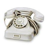 Белый европейский роторный дисковый телефон с зелеными номерами на колесе пальца Старый винтажный роторный перемотанный дисковый  стоковые фото