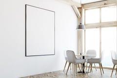 Белый интерьер кафа, окна просторной квартиры, плакат, угол бесплатная иллюстрация