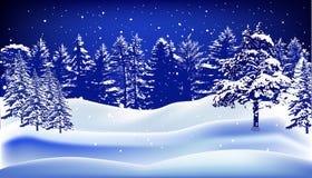 Белый и голубой ландшафт зимы с лесом в снеге Стоковые Изображения