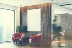 Белый и деревянный зал ожидания офиса, сторона, двойная Стоковые Изображения