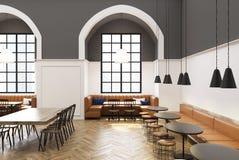 Белый и серый интерьер кафа, окно бесплатная иллюстрация