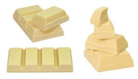 Белый комплект шоколада изолированных частей Стоковое Изображение RF