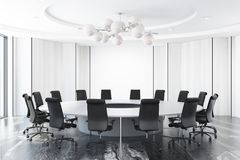 Белый конференц-зал, круглый стол иллюстрация штока