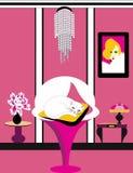 Белый кот спать в розовой комнате стоковое фото