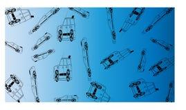 Белый к голубой предпосылке с много с автомобилей дороги - иллюстрации вектора бесплатная иллюстрация