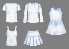 Белый набор акварели шаблонов ткани для дизайна изолированных на серо бесплатная иллюстрация