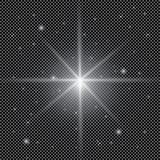 Белый накаляя светлый взрыв взрыва с прозрачным Иллюстрация вектора для холодного украшения влияния с лучем сверкнает Яркое sta Стоковое Изображение