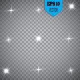 Белый накаляя светлый взрыв взрыва с прозрачным Иллюстрация вектора для холодного украшения влияния с лучем сверкнает Яркое sta Стоковые Фото